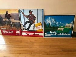 2 Winston And 1 Salem Sign - All Are 21and039 X 17 From 1979-80 In Good Condition
