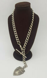 Antique Beautiful 1900and039s Solid Silver Pocket Watch Chain And Fobt-bar 66.5 G.