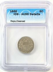 1866 Rays Shield Nickel 5c About Uncirculated Icg Au55 Details Cleaned