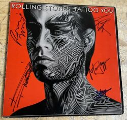 Rare Authentic Rolling Stones Signed Lp Cover 5 Autographed Jagger Tattoo You