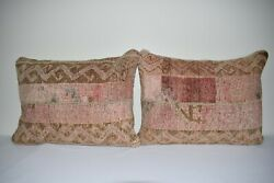 Set Of Two Turkish Oushak Rug Pillow Cover, Vintage Body Cushion 18 X 24