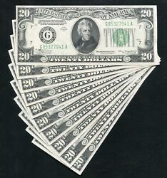 10 Consecutive Fr. 2055-g 1934-a 20 Frn's Chicago, Il Gem Uncirculated