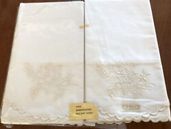 Vintage Embroidered White Percale Cotton Pair Pillowcases Unused Great Britain