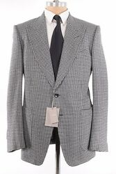 Tom Ford Nwt Sport Coat Size 44r Black And White Houndstooth Flannel Wool Shelton