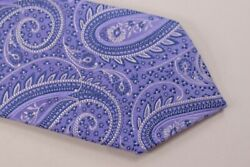 Eton Nwt Neck Tie In Light Purple With White And Blue Large Paisley 100 Silk
