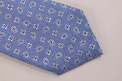 Eton Nwt Neck Tie In Light Blue With Brown And White Paisley Silk/linen