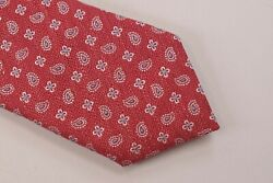 Eton Nwt Neck Tie In Red With Light Blue And White Small Paisley Silk/linen