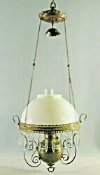 Hanging Parlor Oil Lamp Antique  Royal Center Draft White Milk Glass Shade