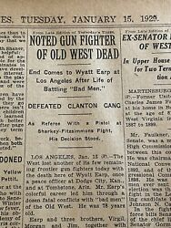 """Newspaper 1929 """"wyatt Earp,noted Gun Fighter Of The Old West Dead"""" O.k.corral"""