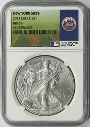 2013 Silver American Eagle 1 New York Mets Ngc Ms69 Mlb Label