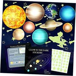 Glow in The Dark Stars and Planets Kids Wall Decor Stickers for Ceiling