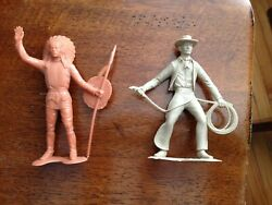 Vintage 1960's Louis Marx Figure 6 Lot Plastic American Indian Chief And Cowboy
