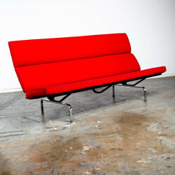 Mid Century Modern Couch Compact Sofa Charles Eames Herman Miller Red Vintage Vg