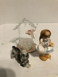 Little Bone China Girl Holding A Goose With A Dog And Wishing Well
