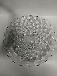 """Vtg. Fostoria-american - 12"""" Round Cube Glass Clear 3 Footed Cake Plate/platter"""