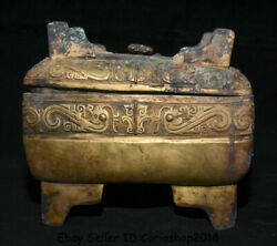 8.6 Antique Old Chinese Bronze Gilt Gold Dynasty Beast Storage Box Food Vessel