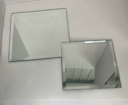 Partylite Set Of 2 Square Beveled Mirror Displays - 8.5 And 7 Squares