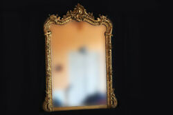 Large Mirror Napoleon Iii Wooden And Stucco Golden/mirror Gilded 19th Century