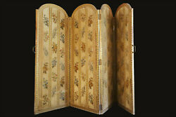 Screen Wooden Golden In Gold And Silk/gilded Wood Screen With Silk