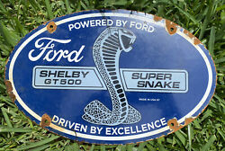 Vintage 67' Ford Shelby Porcelain Sign Gt500 Cobra Oil Gas Auto Truck Petroliana