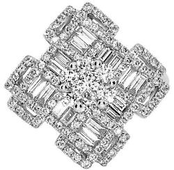 Large 1.29ct Diamond 18k White Gold 3d Round And Baguette Flower Multi Square Ring