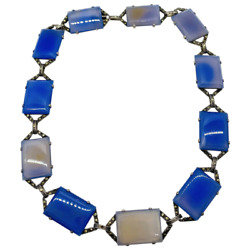 Art Deco German Sterling Silver Blue Chalcedony And Marcasite Necklace