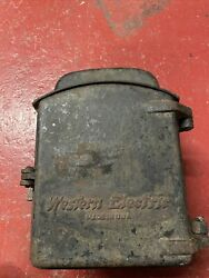 Antique Western Electric Cast Iron Railroad Telephone Box With Phone