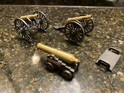 Vintage Lot Of 3 Brass And Cast Iron Desktop Cannon Mfco 1/2 Toy