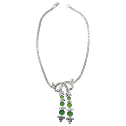 Vintage Sterling Silver And Green Glass R Derosa Necklace