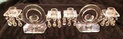 Pair Of Heisey Kohinoor Candelabras Full Set Of Bobeches And Prisms