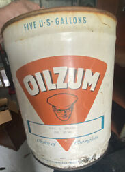 Large Oilzum Motor Oil Can 5 Gallon Metal White And Bagley Co Worcester Ma