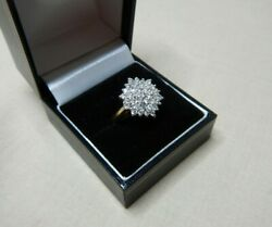 Vintage 37 Diamond Snowflake Cluster And 22ct Gold Dress Ring - British 1953 1256