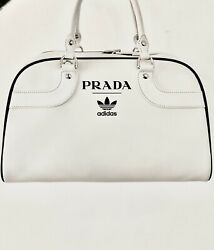 Prada X Adidas Bowling Bag Without Shoes White In Calf Leather With Silver-ton