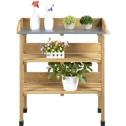 Outdoor 3 Tier Potting Bench Table Garden Workstation Solid Wood Construction