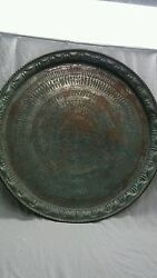 Large Antique Persian Middle East Islamic Tin Copper Etched Tray Table Top 29