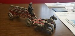 Vintage Cast Iron Horse Drawn Fire Truck Engine Wagon 2 Ladders 1 Fireman Toy