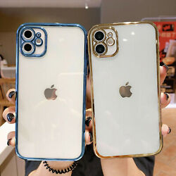 For iPhone 13 12 11 Pro Max XS 8 7 Shockproof Clear Plating Silicone Case Cover $6.85