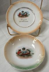 Three Crown China Cats And Rowboat Plate And Bowl Set Red Wing Souvenir Plate