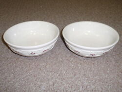 Longaberger Set Of 2 Wt Cereal Bowls-traditional Red- New-other