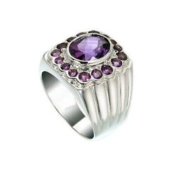 Natural Amethyst Gem Stone 925 Sterling Silver Rings Men's Jewelery Us Size 9