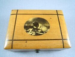 Vintage Wooden Trinket Box With Photo Of Dog To Lid
