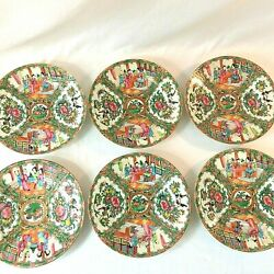 Antique Chinese Rose Medallion Set 6 Luncheon Plate 9.5d 1850-90 Floral Figural