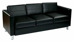 Pacific Vinyl Sofa Couch With Spring Seats And Silver Metal Legs Black