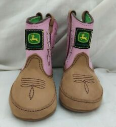 John Deere Infant Baby Girl's Tan And Pink Western Boots Size 1 Month