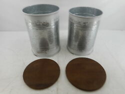 Hallops Galvanized Farmhouse Side Tables W/ Wood Cover, Set Of 2