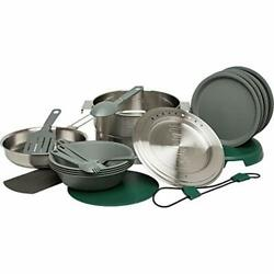 Base Camp Cook Set For 4   21 Pcs Nesting Cookware Made From Stainless Steel