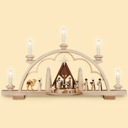 German Candle Arch Nativity Scene With Manger, Length 57 Cm / 22 .. Mu 12530 New