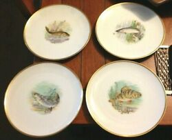 Set Of 4 Hutschenreuther Selb Pasco Fish Dinner Plates Bass Perch Salmon Weakfis