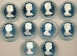 Lot Of 10 1980 Cayman Islands Silver 25 Coins-proof-beautiful Ships Free
