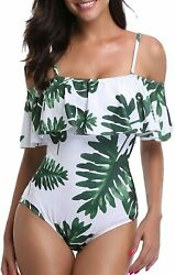 Tempt Me Womenand039s One Piece Swimsuit Vintage Off Shoulder Ruffled Bathing Suits